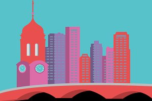 Buildings & Clock Tower Illustration