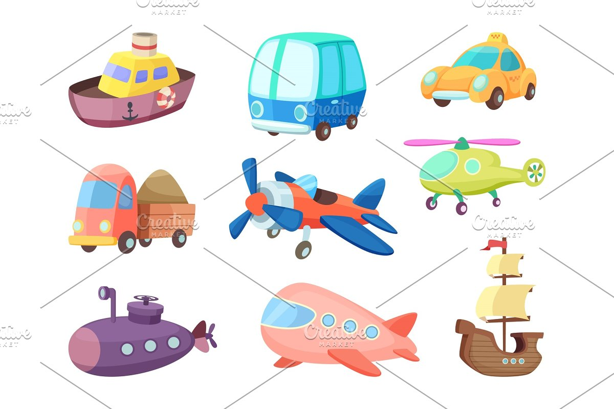 Cartoon illustrations of various transportation  Airplanes, ship, cars and  others  Vector pictures of toys for kids