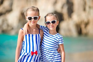 Adorable little girls on summer vacation in Europe