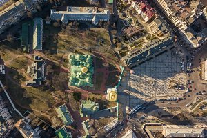 Kiev, Ukraine - April 7, 2018: View from the top of the Sophia Square and the Cathedral of St. Sophia with golden domes