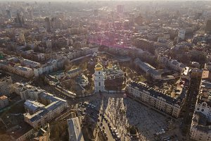 Aerial top view of St Sophia cathedral and Kiev city skyline from above,