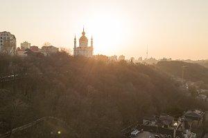 Sunset over Saint Andrew's church in Kyiv, Ukraine.