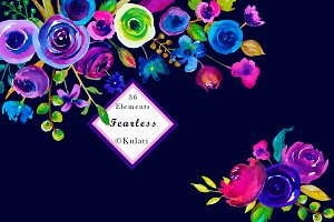 Bold Watercolor Floral Clipart