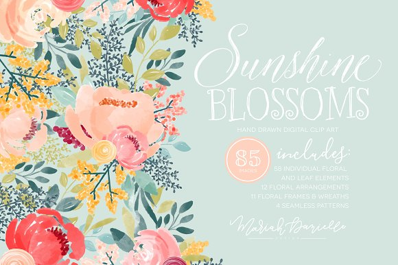 Sunshine Blossoms Flower Clipart Set