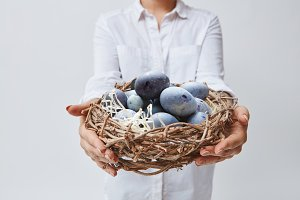 A girl is holding a nest from branches with eggs. Easter concept
