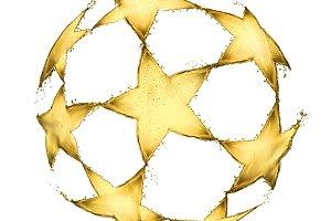 Football ball made of beer splashes on white background