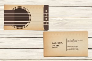 Guitar Lessons Business Card Templat