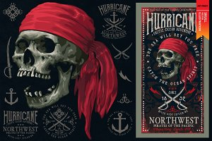 PIRATES - Skull vector illustration