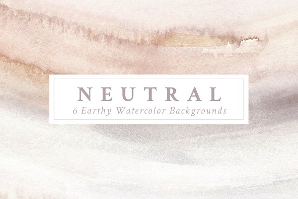 6 Neutral Watercolor Backgrounds