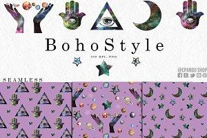 Boho Style, Hamnsa seamless pattern