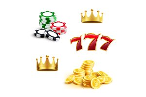 Casino icon of gaming chip, coin and triple seven