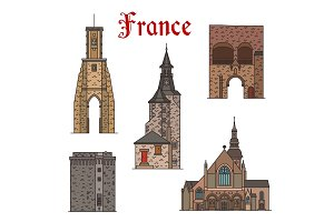 France landmarks vector architecture line icons