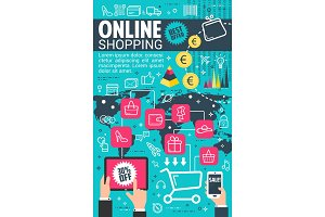 Vector internet online shopping flat poster