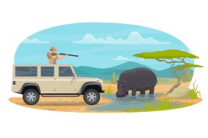 Vector hunter on African safari hippopotamus hunt