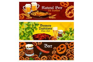 Vector banners for brewery beer traditions