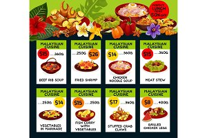 Vector price menu for Malaysian cuisine