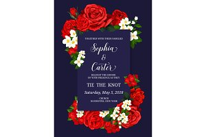 Wedding ceremony invitation card with flower decor