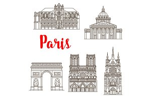 Paris famous landmarks vector buildings icons