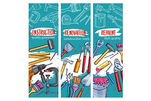 Vector work tools for home repair sketch banners