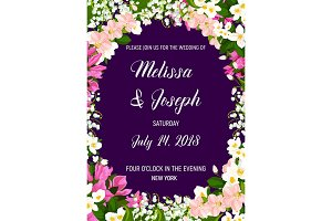 Wedding invitation with frame of jasmine flower