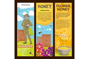 Beekeeping, apiary and honey vector banners