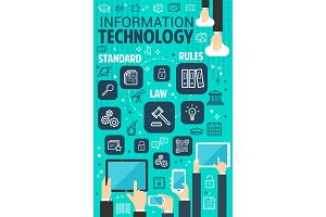 Vector information technology internet poster