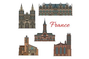 France famous travel landmarks vector icons