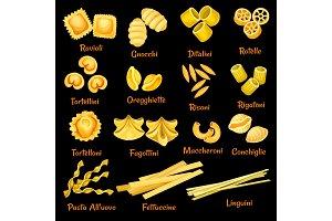 Vector Italian pasta sorts icons