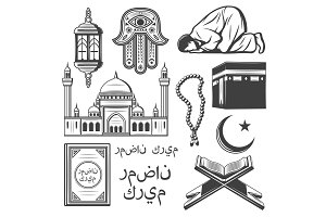 Islam icon with religion and culture symbol