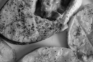 Grilled Salmon in Black and White