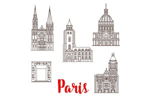 Paris travel landmarks vector buildings line icons