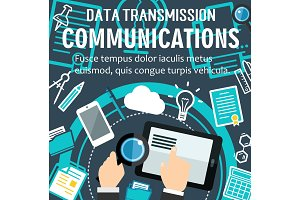 Vector internet communication technology poster