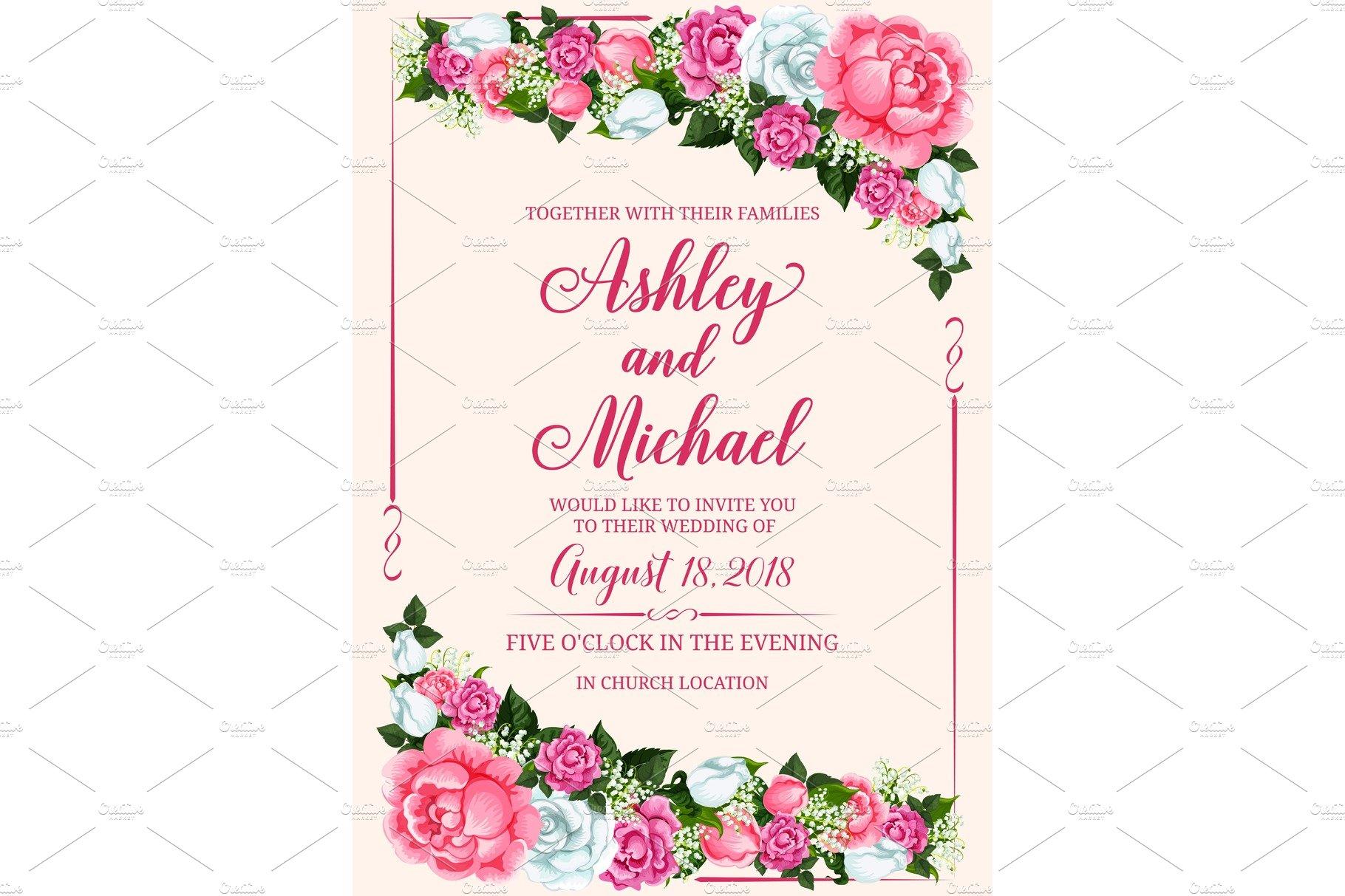 rose flower frame for wedding invitation design  pre
