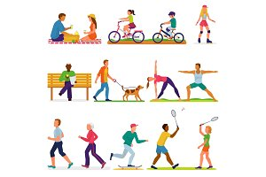 Active people vector woman or man character in sport activities training fitness workout exercises and doing yoga illustration set of adults and kids cycling on bicycle isolated on white background