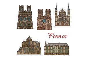France travel landmarks vector buildings icons