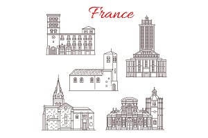 France travel landmarks vector line art icons