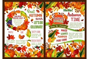 Autumn pumpkin, fruit and berry harvest poster