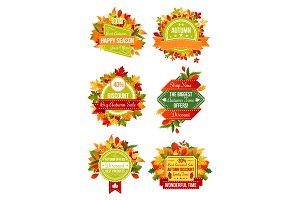 Autumn season sale label set with fall leaf frame