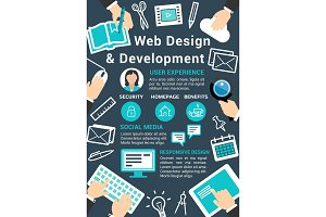 Vector web design technology poster