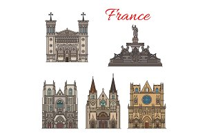 France travel landmarks vector facade buildings