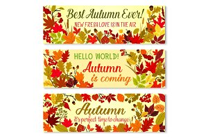 Autumn banner of fall season forest nature frame