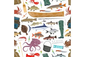 Vector fisherman sport and fishing fish pattern
