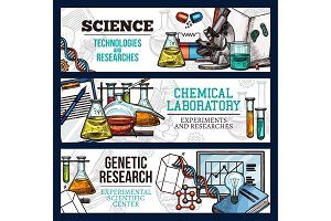 Vector sketch banners for science and research