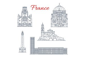 France travel landmarks vector icons