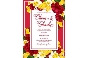 Wedding celebration invitation with spring flower