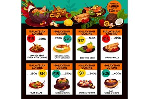 Vector price menu for Malaysian cuisine lunch