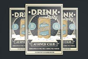 Vintage Drink Party Flyer Poster
