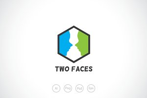 Two Faces Logo Template