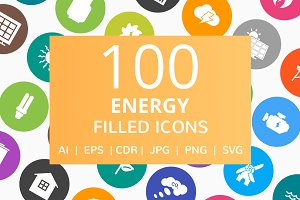100 Energy Filled Round Icons