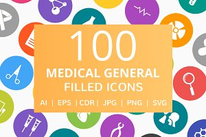 101 Medical Filled Round Icons